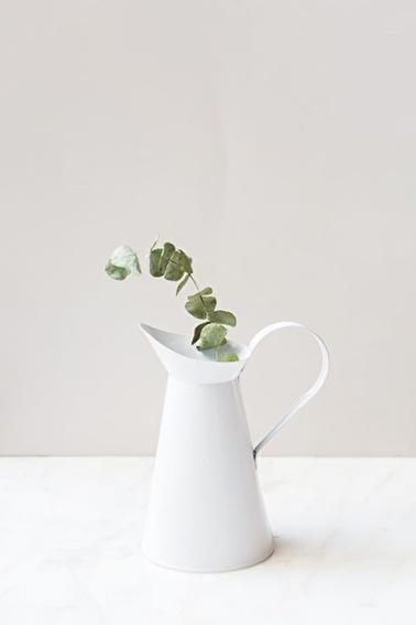 Arma House Country Tarzı Beyaz Metal Vazo Beyaz